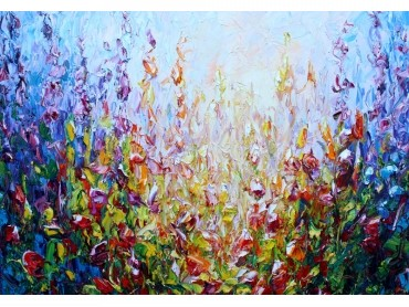 Botanical Spring - abstract impressionist expressionism floral work with bold impasto strokes