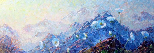 Mount Cook Lilies in the morning light impressionistic