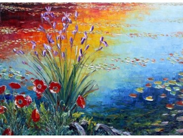 an almost Monet pond scene with poppies and irises in the foreground