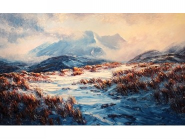 Snow, Ruapehu - NZ mountains landscape painting