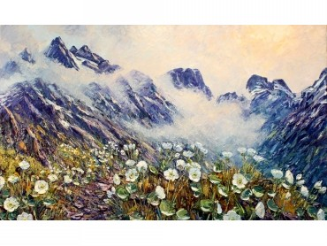1. Spring in the Mountains, Routeburn - Richard Ponder impasto oil landscape with Mount Cook Lilies