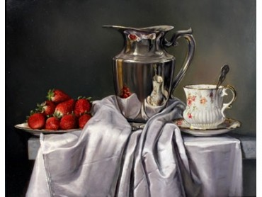 Strawberries and Cream - Still Life by Ken Hunt