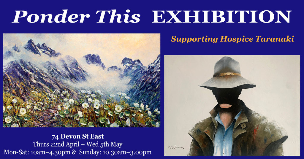 Richard and Mike Ponders Hospice Taranaki Ponder This Exhibition with horse and rider and mountain daisies